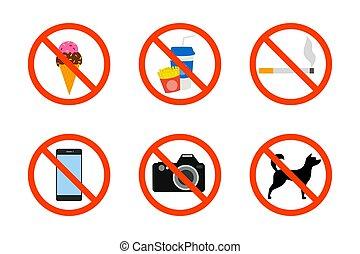 Prohibited icon set