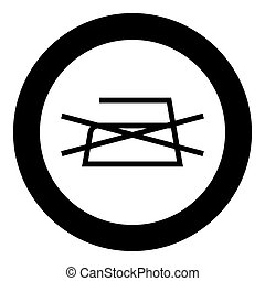 Prohibited Ironing is not allowed Clothes care symbols Washing concept Laundry sign icon in circle round black color vector illustration flat style image