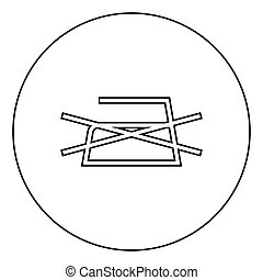Prohibited Ironing is not allowed Clothes care symbols Washing concept Laundry sign icon in circle round outline black color vector illustration flat style image