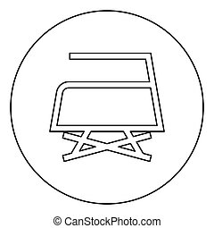 Prohibited Ironing is not allowed with steam Clothes care symbols Washing concept Laundry sign icon in circle round outline black color vector illustration flat style image
