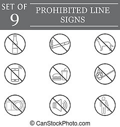 prohibited line icon set, forbidden symbols