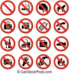 A set of prohibited sign in vector.