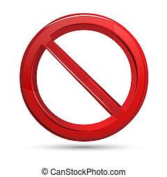 illustration of prohibited sign on isolated white background