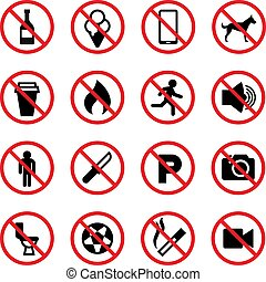 Prohibited signs. Forbidden vector icons