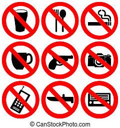 Forbidding signs no smoking , no drugs , no weapon and no