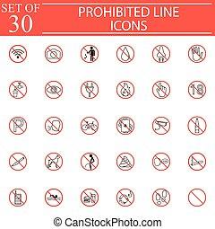 Prohibited signs line icon set, Forbidden symbols