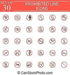 Prohibited signs line icon set, Forbidden symbols