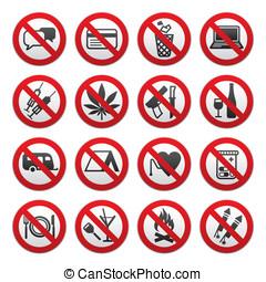 prohibited, symboler
