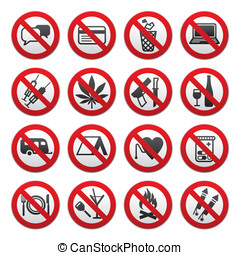 Prohibited symbols - Simple Prohibited Signs Set on white...