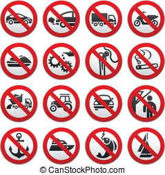 Prohibited symbols, vector illustration