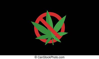 Prohibiting Sign. Cigarette. Marijuana. Drugs. Syringe. Alcohol. Set Objects. Transparent Background. 4 Animations. Motion Graphics.
