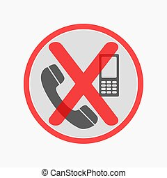 Prohibiting sign for cell phone. No phone sign. Vector illustration