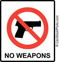 Prohibiting sign for gun. No gun sign. Vector illustration
