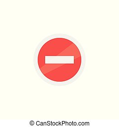Prohibiting sign icon isolated on background vector flat red and white design.