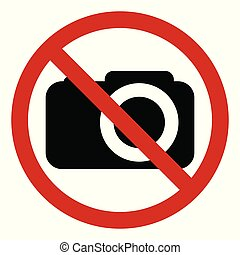 Prohibiting sign photo video shooting prohibited, vector no photo, warning sign not to shoot, red circle crossed out camera