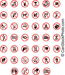Prohibiting signs - This image is a vector illustration and...