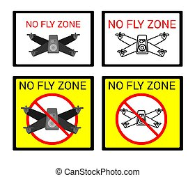 Prohibiting signs for the flight of quadrocopters, drones
