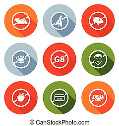 Prohibiting signs Icons Set. Vector Illustration.