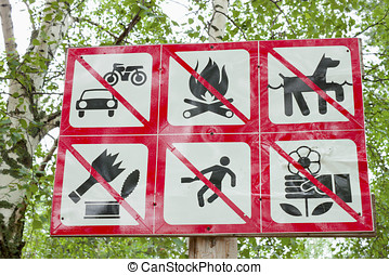 Prohibiting signs in the park