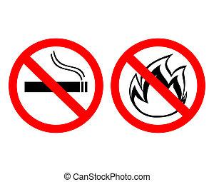"""prohibiting signs """"no smoking"""""""