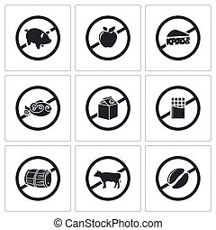 Prohibiting signs Vector Icons Set - sanctions pressure on...
