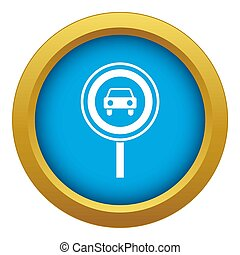 Prohibiting traffic sign icon blue isolated