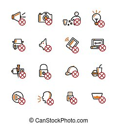 Prohibition filled outline icon set.