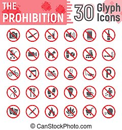 Prohibition glyph icon set, forbidden symbols collection, vector sketches, logo illustrations, ban signs solid pictograms package isolated on white background, eps 10.