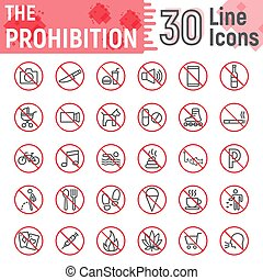 Prohibition line icon set, forbidden symbols collection, vector sketches, logo illustrations, ban signs linear pictograms package isolated on white background, eps 10.