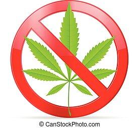 prohibition marijuana - Prohibition marijuana symbol on a...
