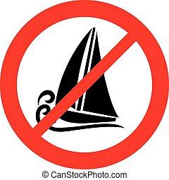(prohibition, não, símbolo, sinal, permitido, não, navio, icon)