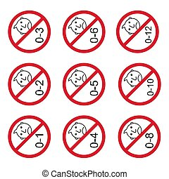 Prohibition no baby for set 0-1 etc sign. Not suitable for children under 1,2.. years vector icon .