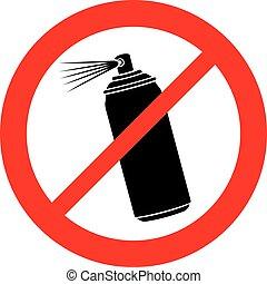 (prohibition, non, signe, pulvérisation, aérosol, icon)