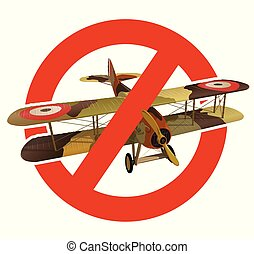 Prohibition of biplane with military camouflage. Strict ban on construction of aircraft with two wings. Stop World War.