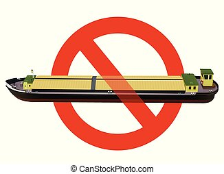 Prohibition of river transport ship. Strict ban on construction of freight long motor boat
