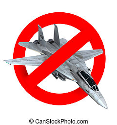 prohibition road sign airplane fighter, 3d illustration