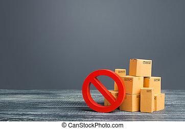 prohibition, scarcity., wars., sanctions., rouges, interdiction, boîtes, carton, ou, pays, importation, symbole, no., dehors, commercer, stock., embargo, marchandises, dual-use, overproduction, exportation, sous, restriction