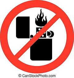 (prohibition, señal, llama, retro, encendedor, permitido, no, icon)