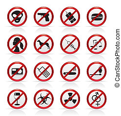 Prohibition Sign and icons - Vector Icon Set