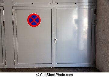 prohibition sign at a cabinet
