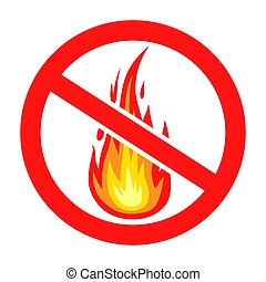 Prohibition sign do not light a fire icon
