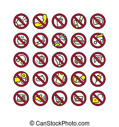 Prohibition Sign filled outline icon set. Vector and ...