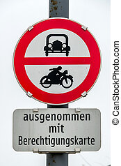 prohibition sign for car and motorcycle