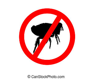 Prohibition sign for fleas on white background