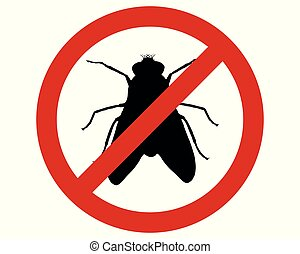 Prohibition sign for flies on white