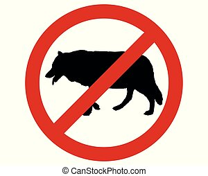 Prohibition sign for wolves on white