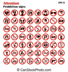 Prohibition sign icons collection, set of vector...