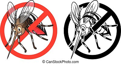 Prohibition Sign Mosquito Character - High Quality...