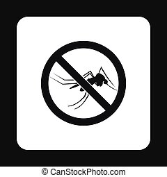 Prohibition sign mosquitoes icon, simple style