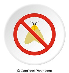 Prohibition sign moth icon, flat style